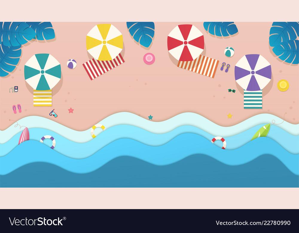 Top view sea the beach with umbrellas sun beds