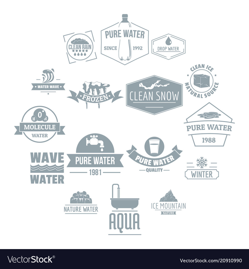 Water logo icons set simple style