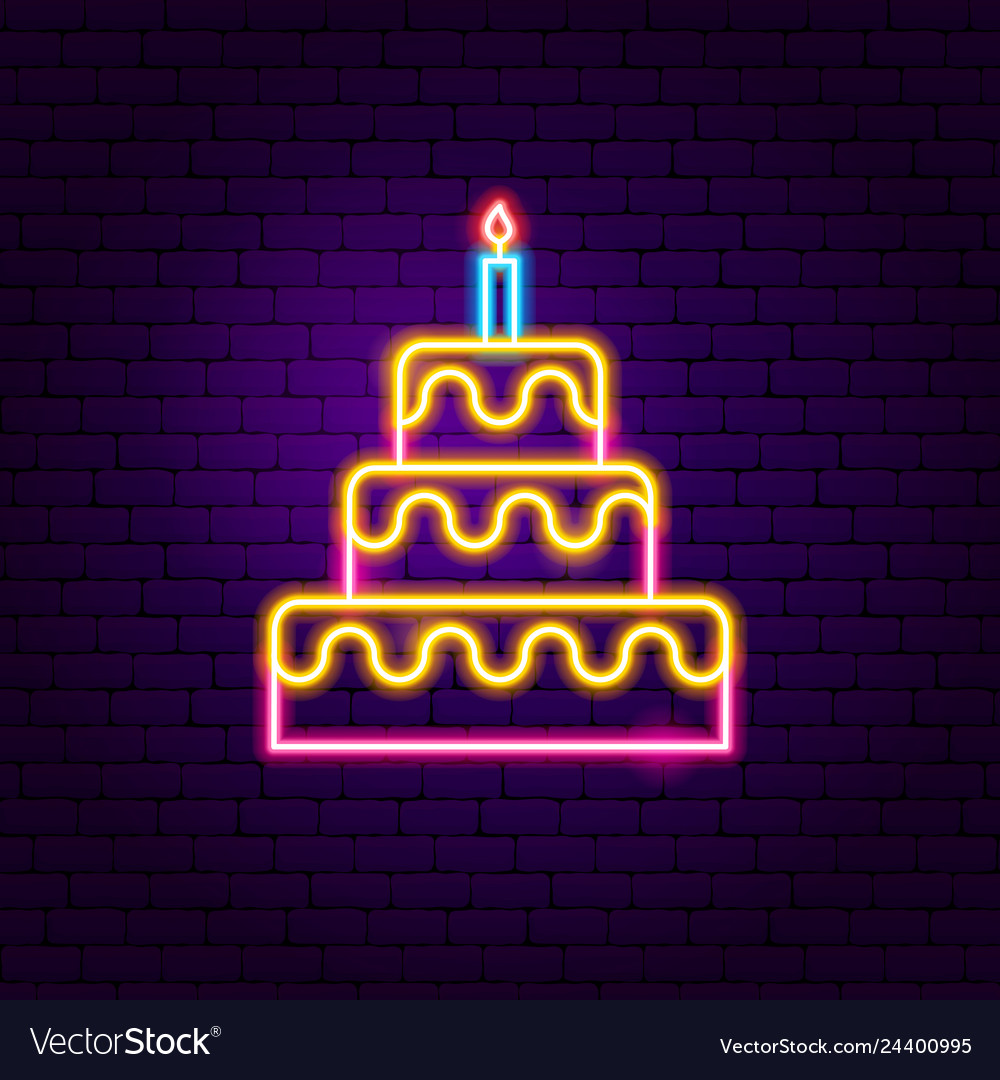 Phenomenal Birthday Cake Neon Sign Royalty Free Vector Image Funny Birthday Cards Online Alyptdamsfinfo