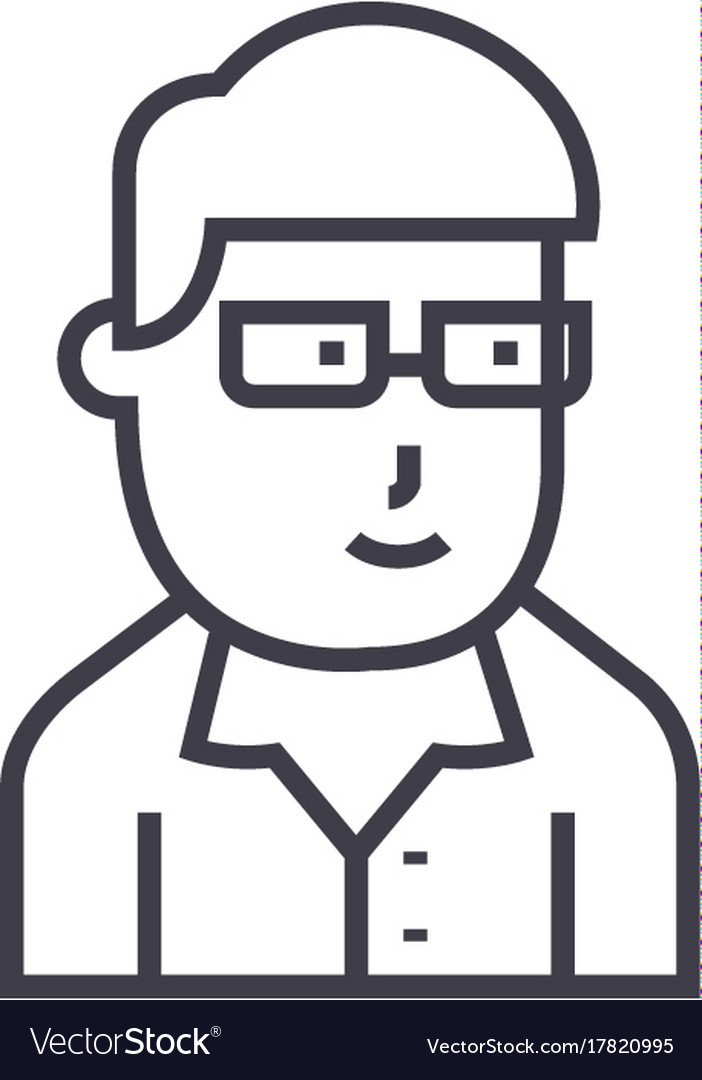Businessman avatar with glasses line icon