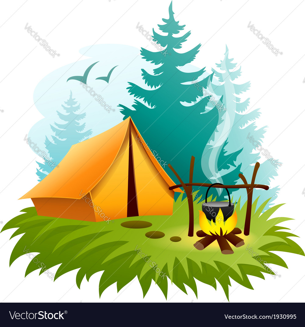 Camping in forest with tent
