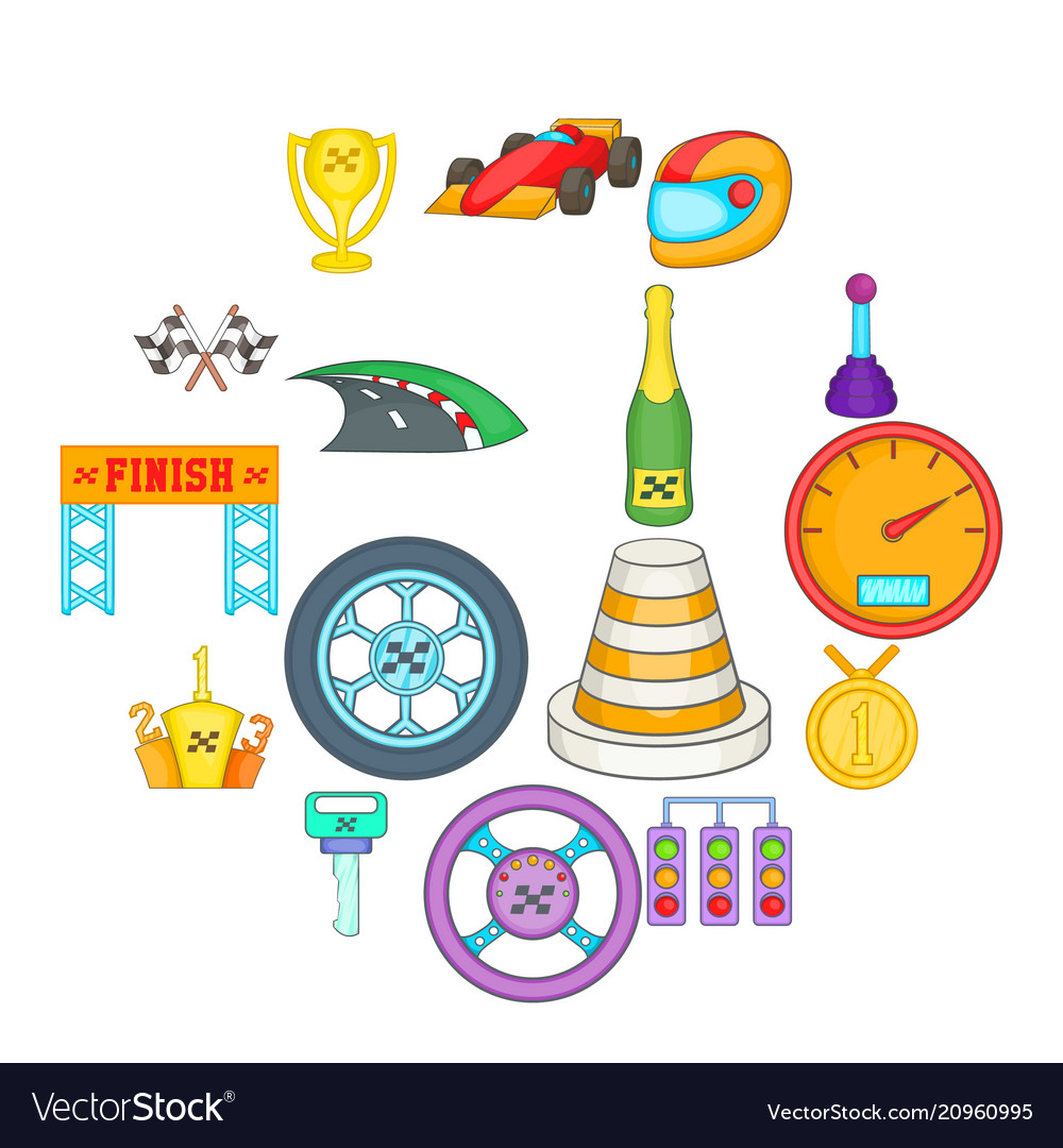 Car racing icons set cartoon style