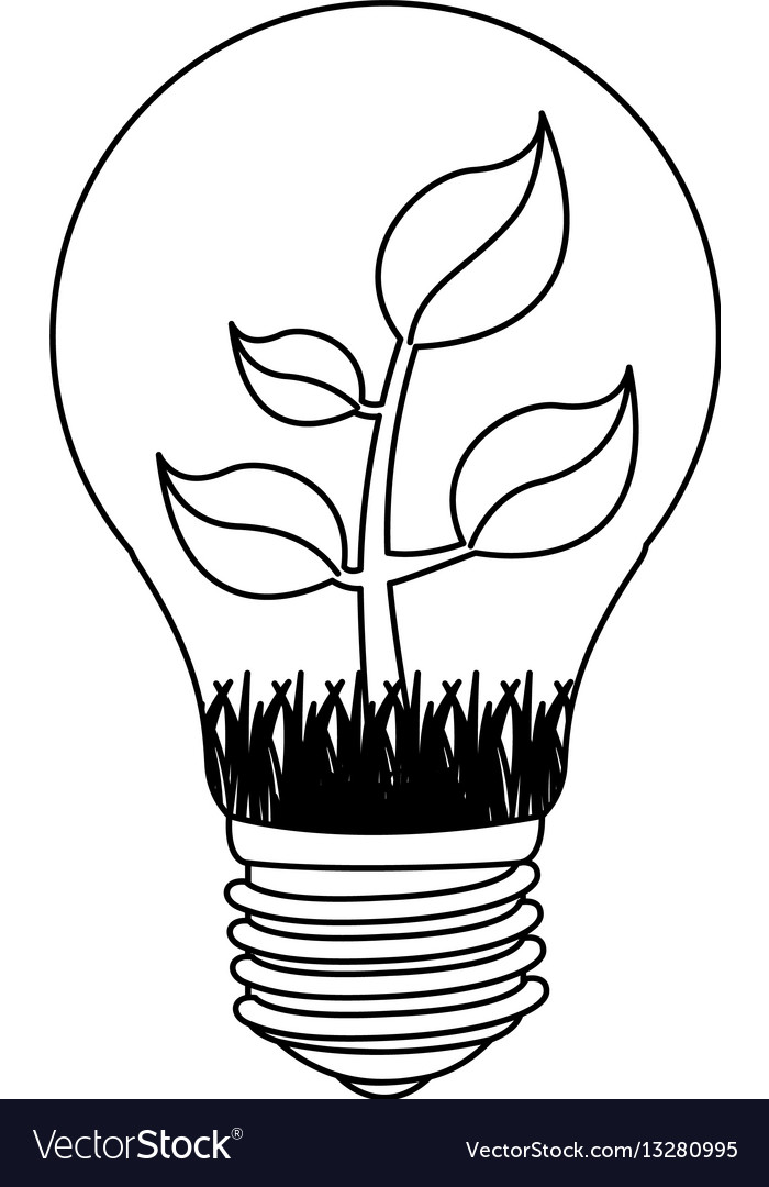Contour bulb with plant inside icon vector image