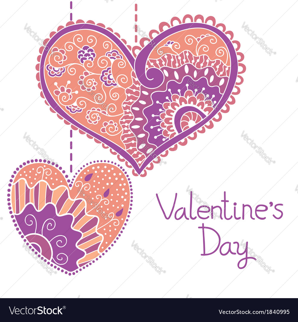 Decorative card with hearts for Valentine day