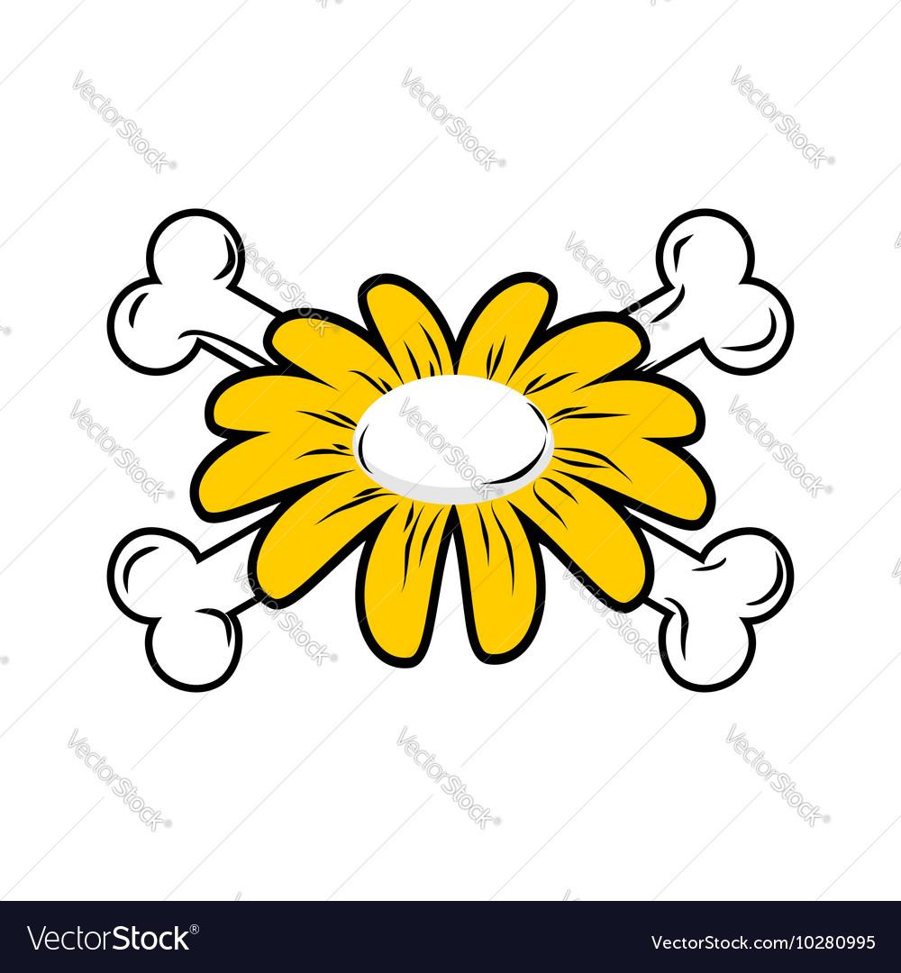 Flower And Bone Daisy And Crossbones Symbol Flower