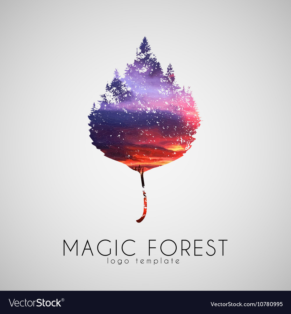 Magic forest logo Leaf trees logo Beautiful logo vector image