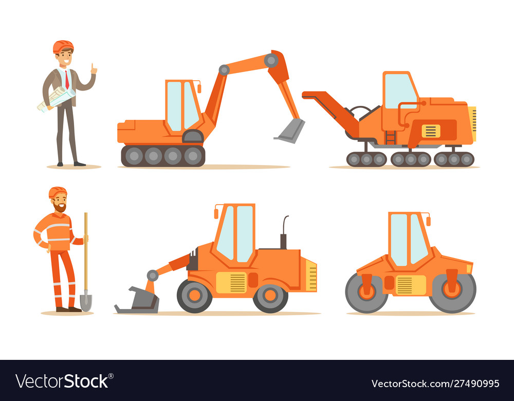 Road construction workers in uniform and