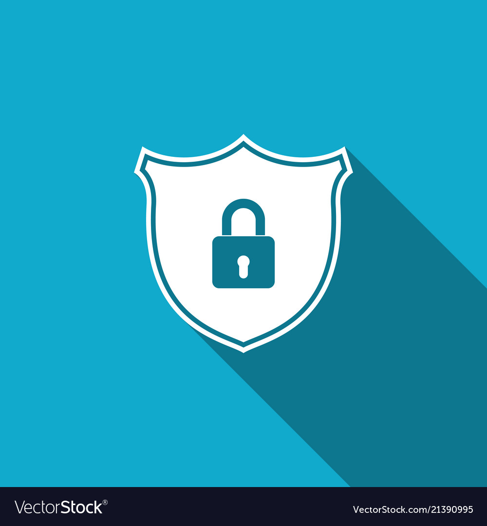 Shield security with lock icon with long shadow