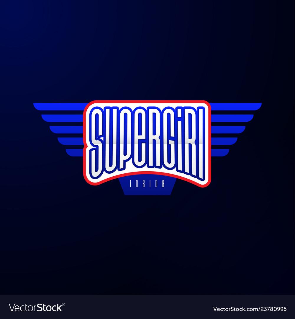 Sport emblem typography super girl hero logotype