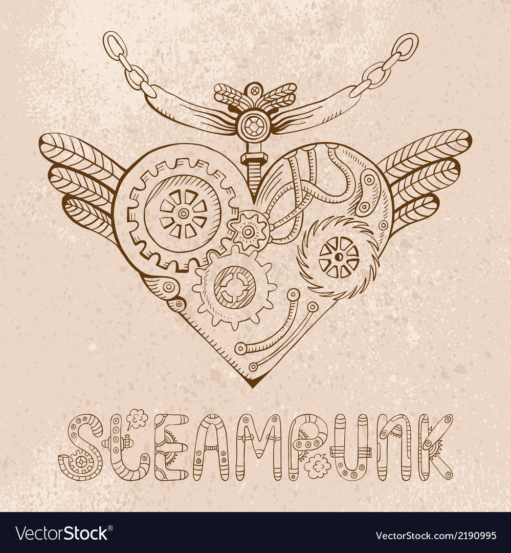 Steampunk Heart Royalty Free Vector Image Vectorstock