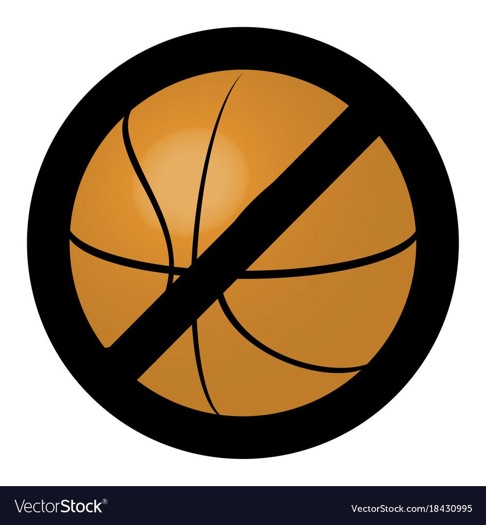 Symbol ban ball for basketball game