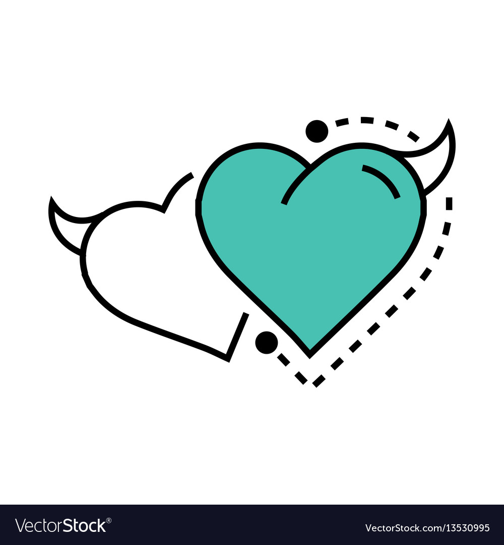 Twins line icon style heart devil blue vector image