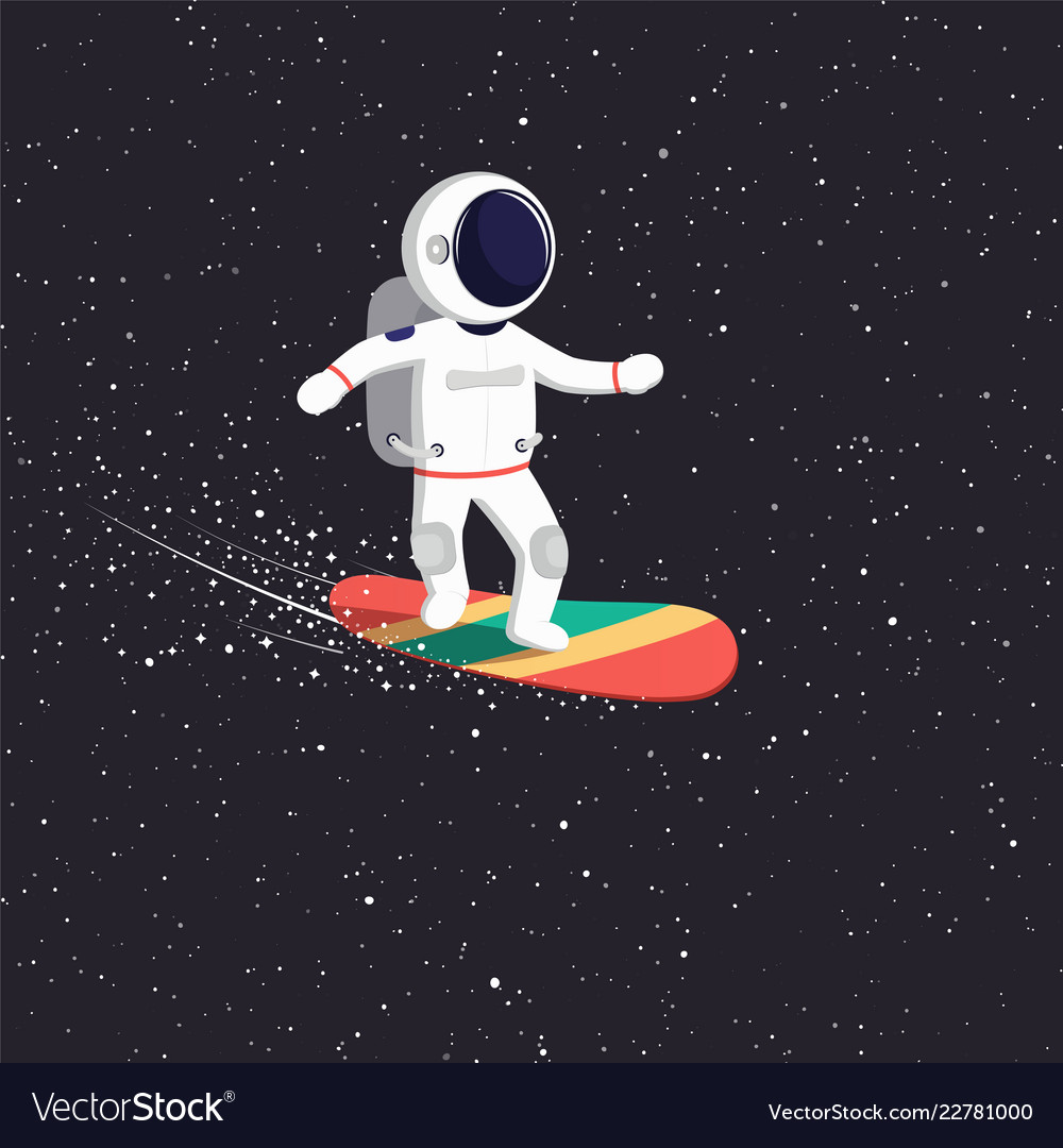 Astronaut rides on flying board on universe