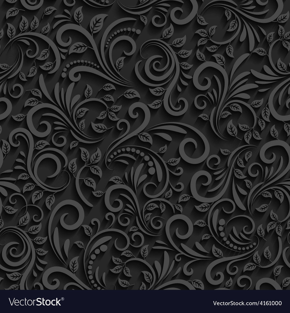 Black Floral Seamless Pattern With Shadow Vector Image