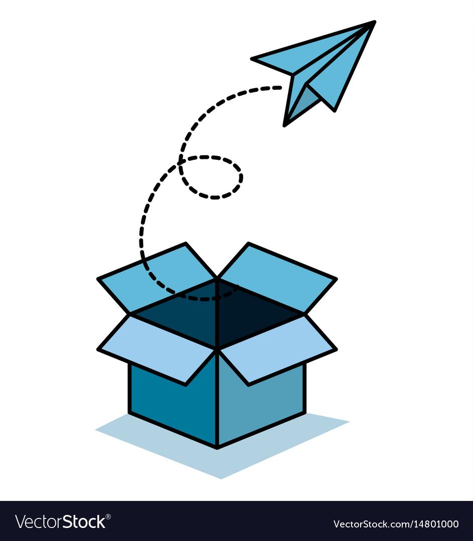 Box and paper plane icon