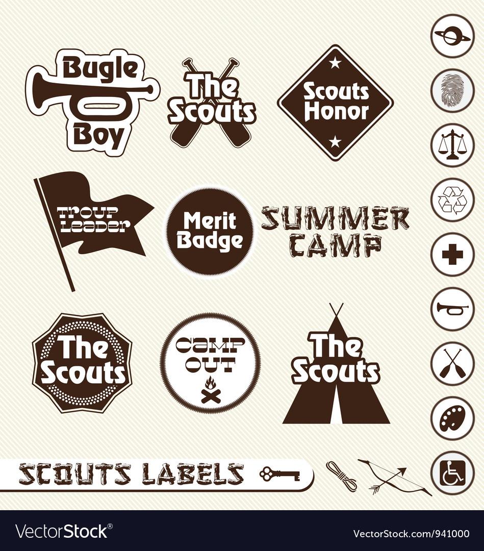 Boy Scouts Labels vector image