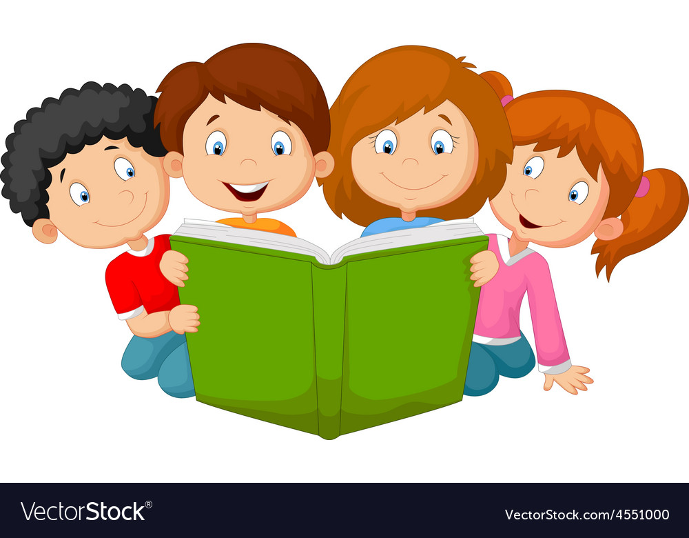 cartoon kids reading book royalty free vector image