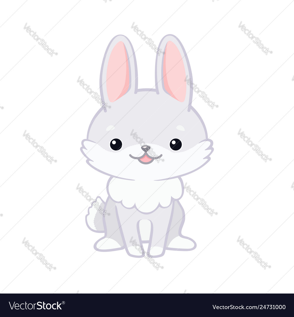 Cute cartoon bunny sitting and smiling