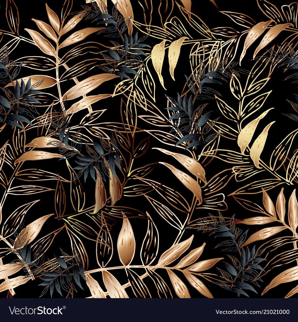 Leafy seamless pattern floral black