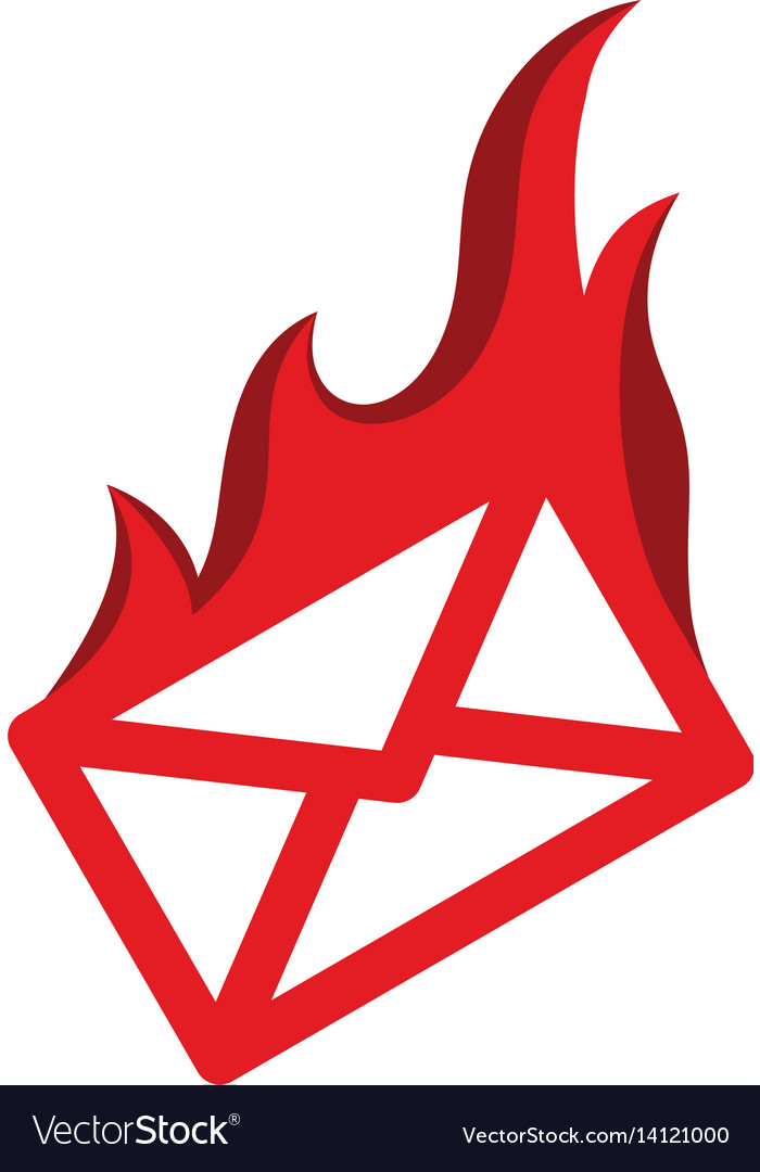 Message mail on fire burning red flame hot logo
