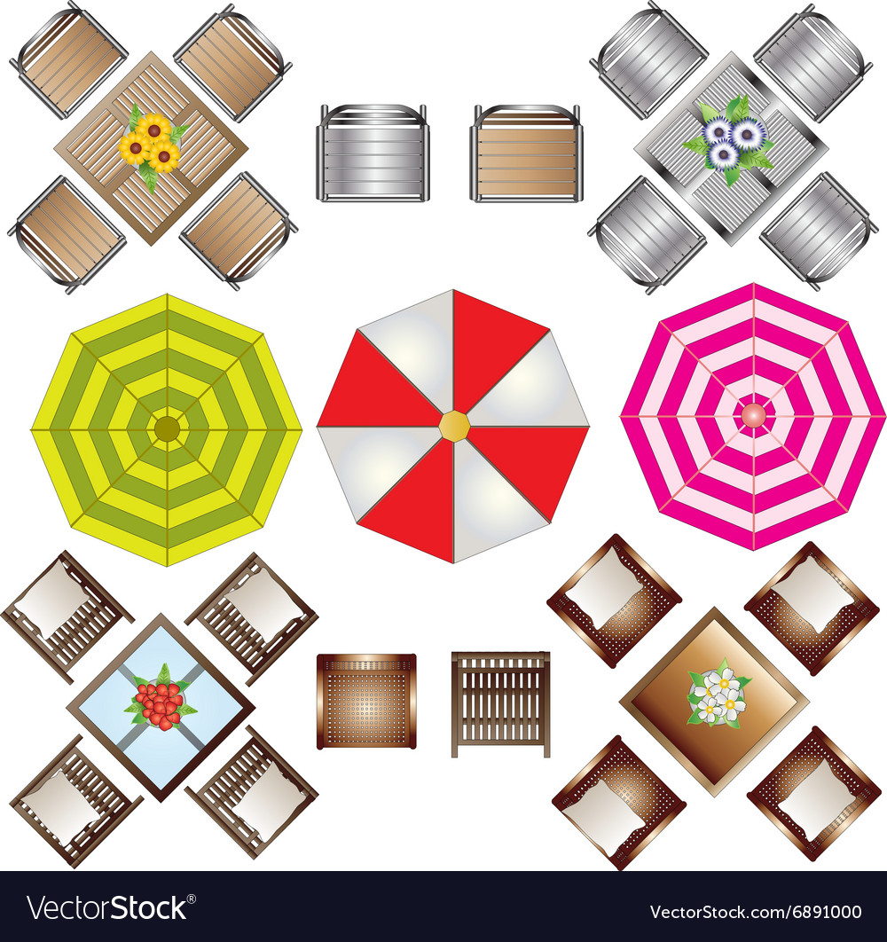 Outdoor furniture top view set 2 for landscape vector image