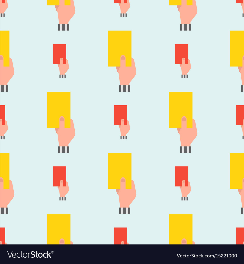 Seamless pattern hand of soccer referee hands