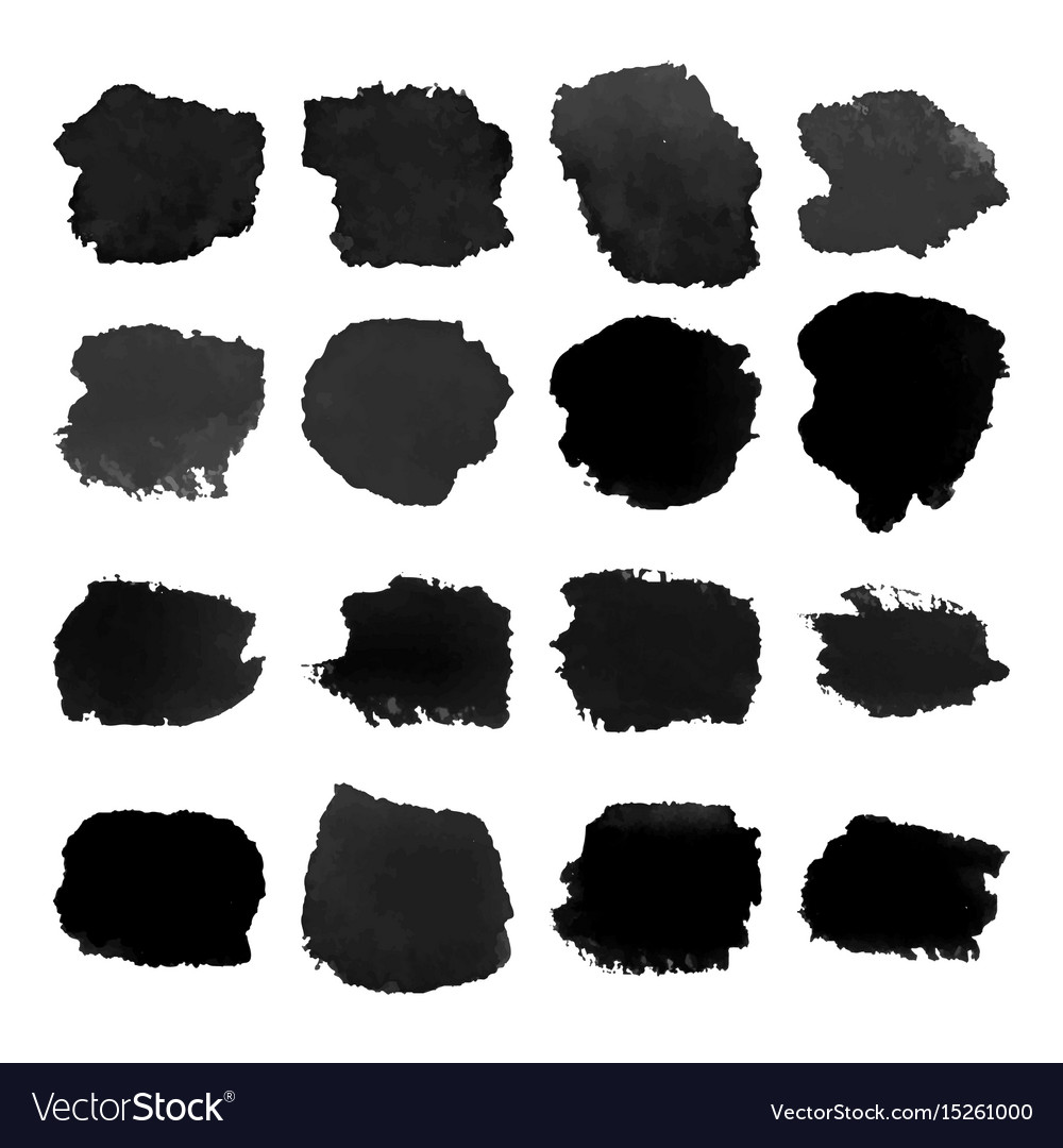 Set of black watercolor stain