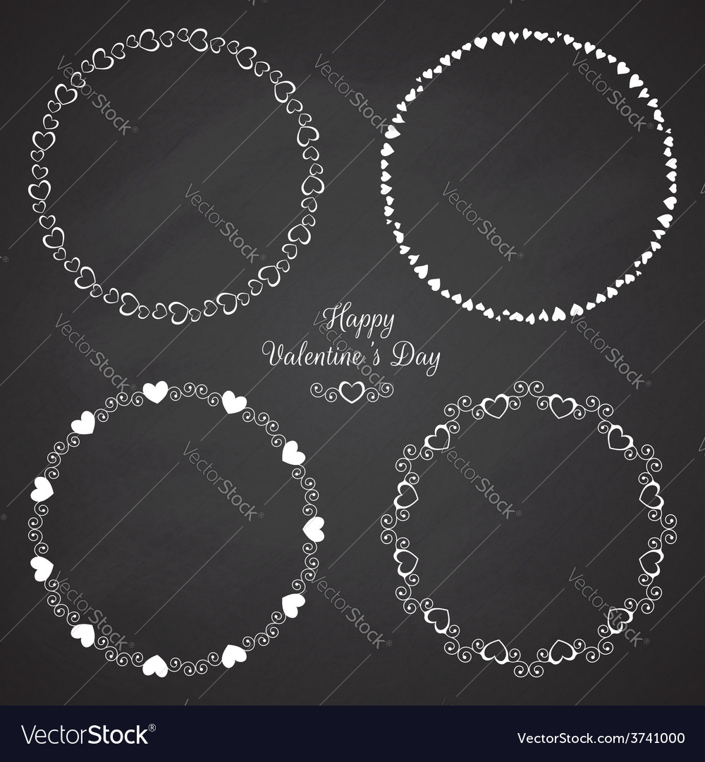 Set of circle cute frames for the St Valentines