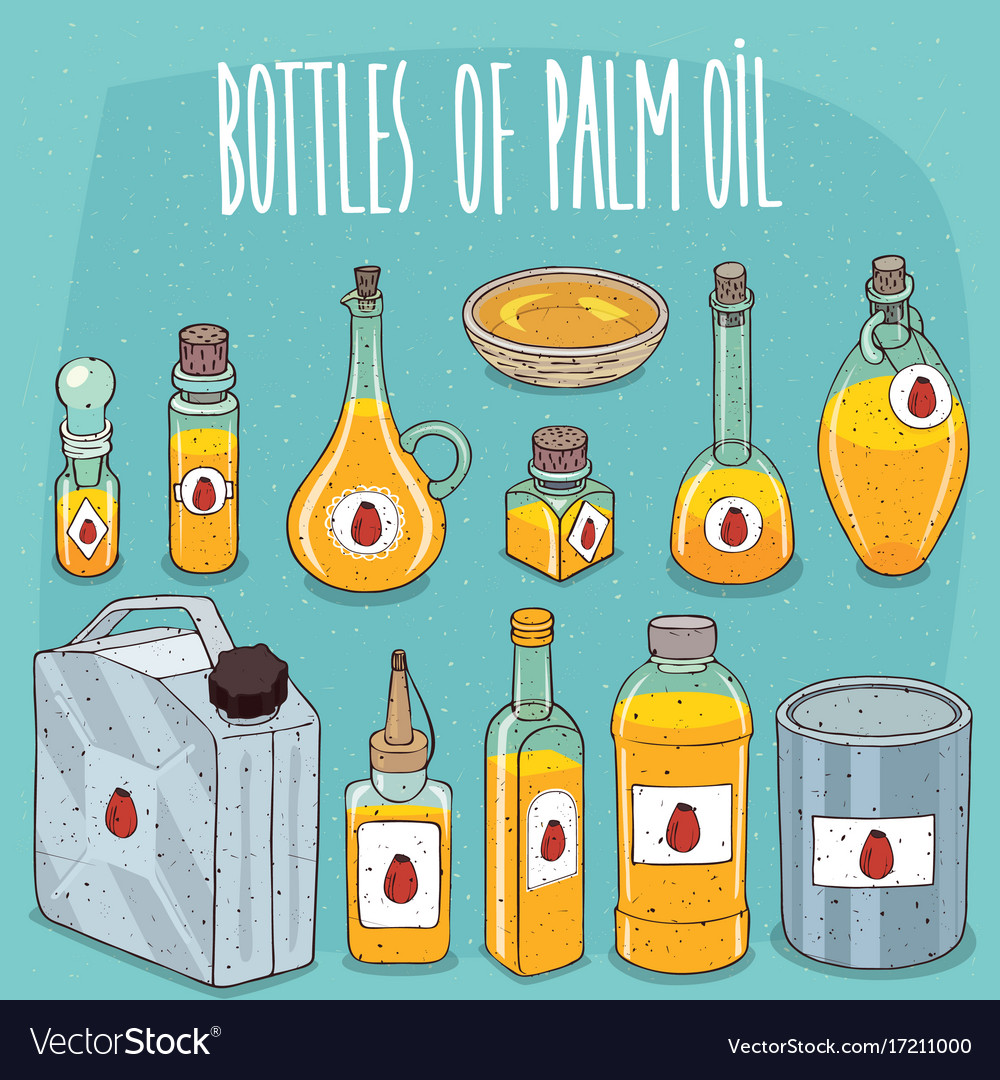 Set of containers with palm oil vector image