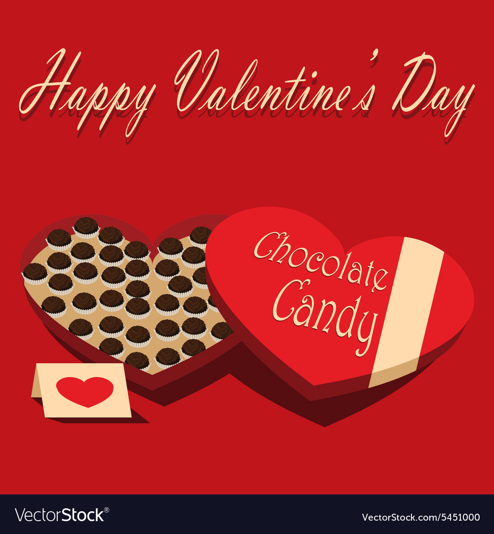 Valentines Day box of chocolate candy and greeting vector image