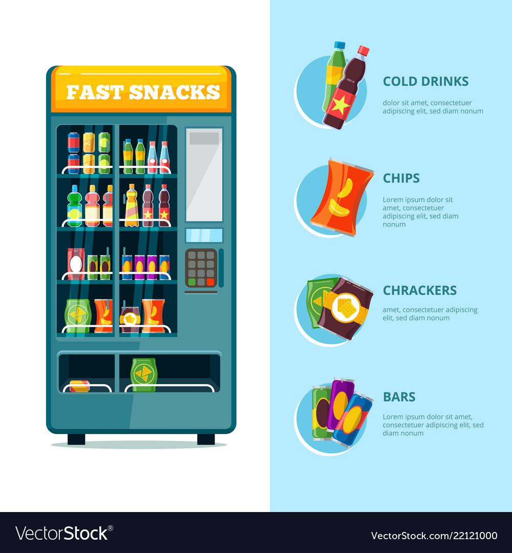 Vending fast food machine sandwich soda drink