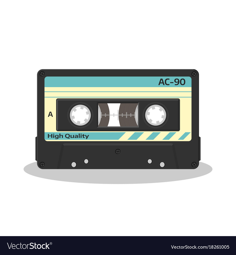 Audio cassette in retro style isolated on a white