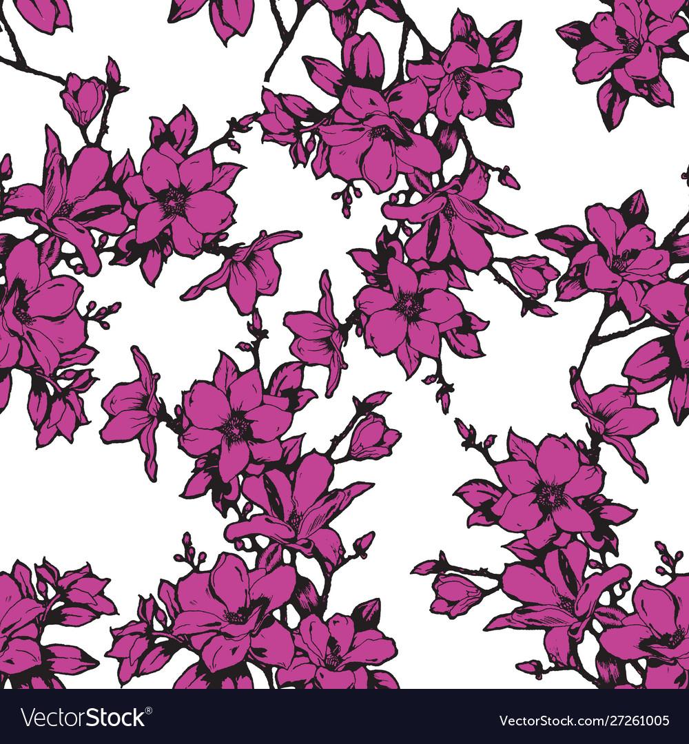 Beautiful sketchy magnolia twigs seamless