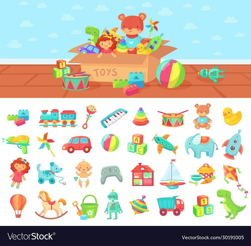 Cartoon toys set kids play block and