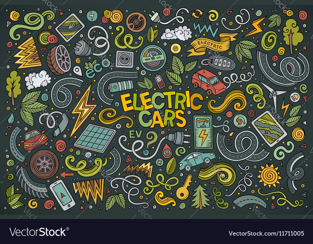 Colorful doodle cartoon set of Electric