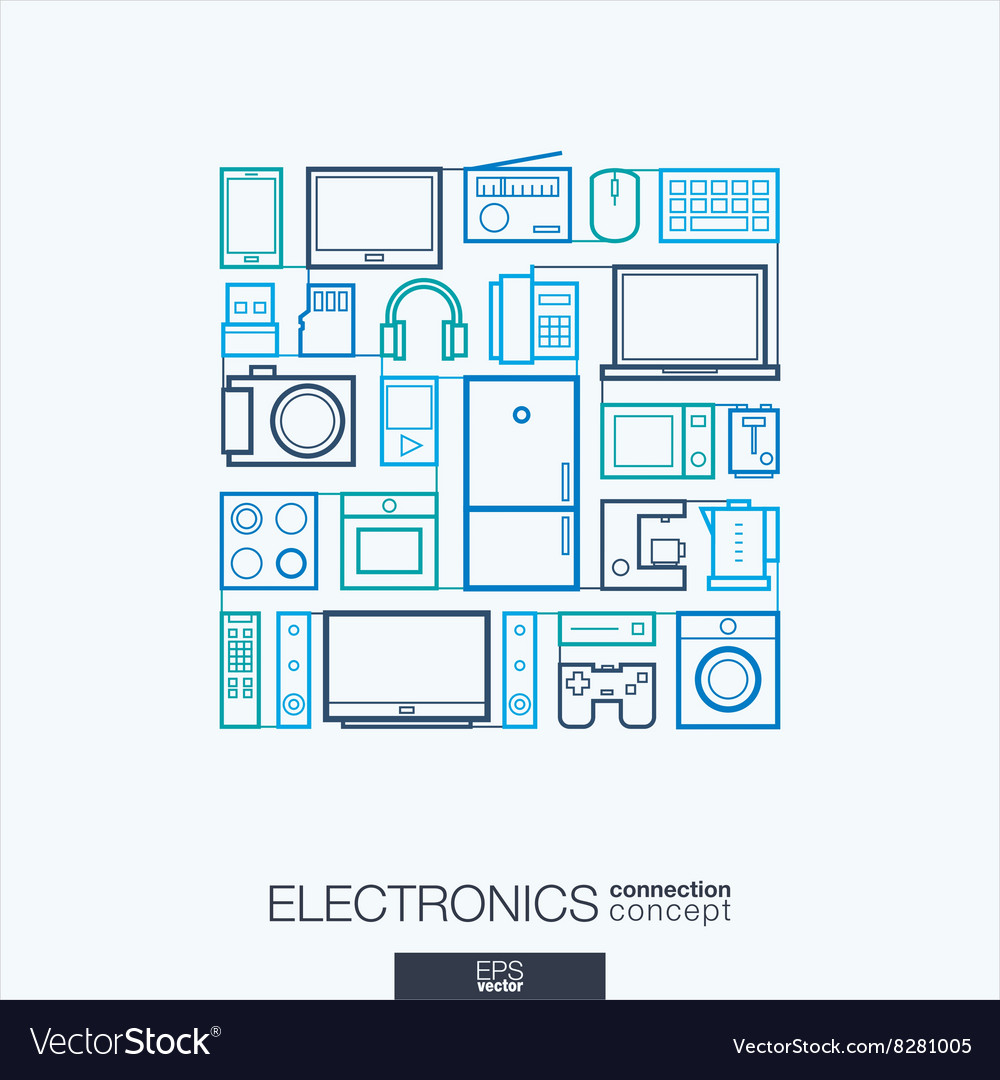 Electronics integrated thin line symbols Modern