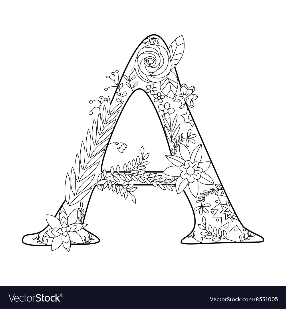 Letter A coloring book for adults