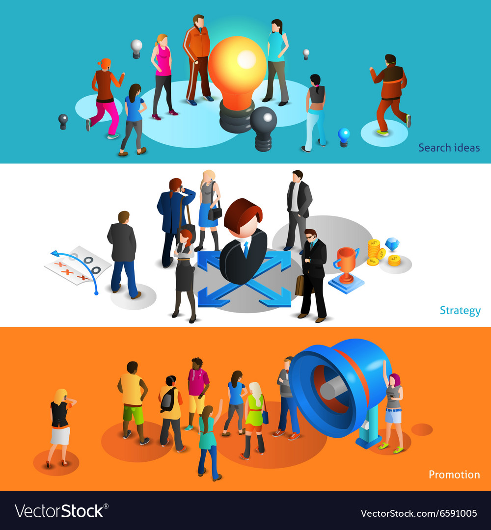 People Banners Set vector image