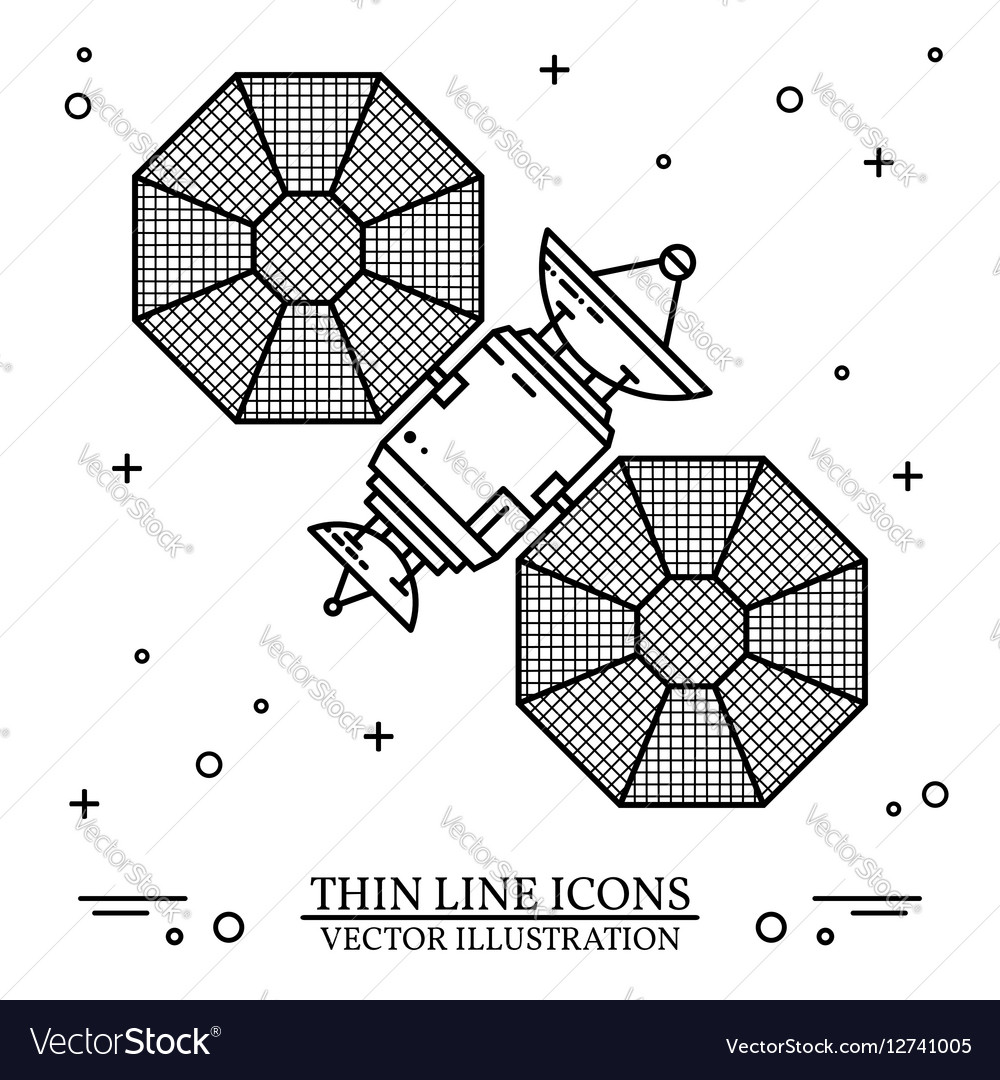 Satellite in space on the white background