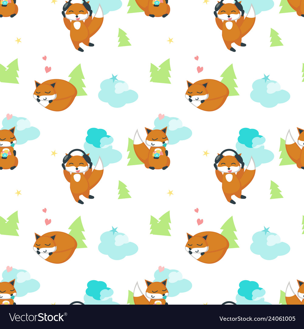 Seamless pattern with cute funny foxes