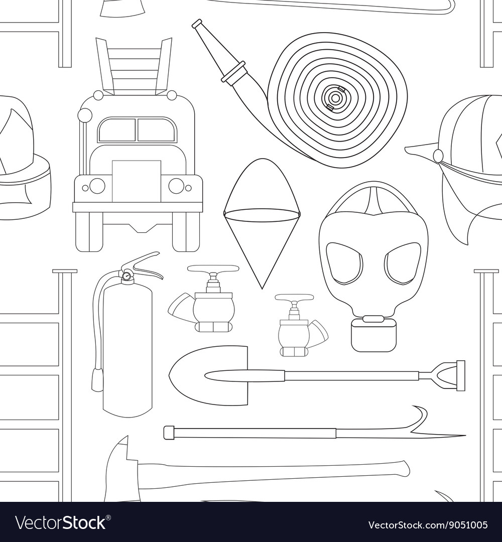 Set icons of firefighting equipment pattern