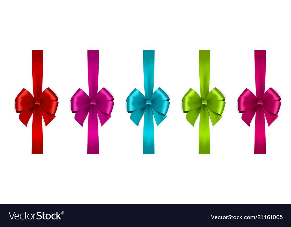 Shiny satin ribbon on white background bow