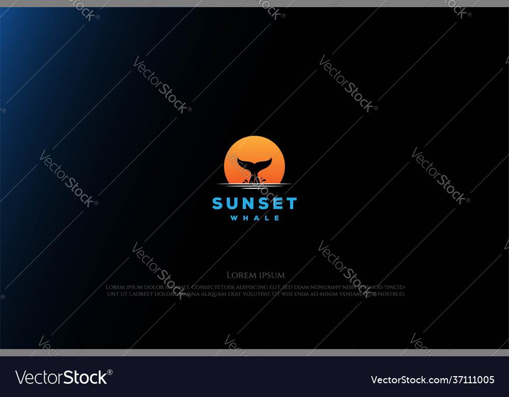 Simple minimalist sunset sunrise with whale