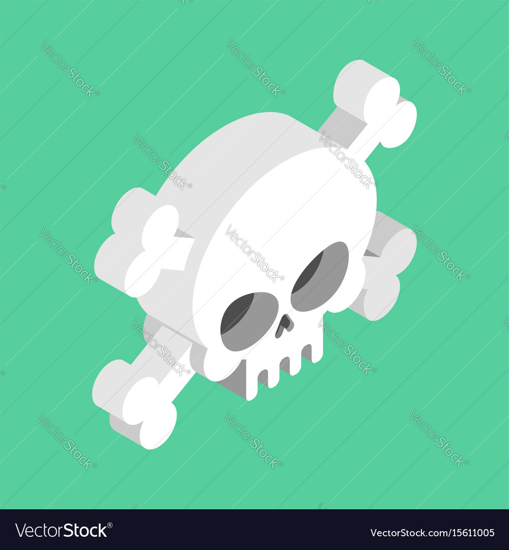 Skull and crossbones isolated pirate danger sign