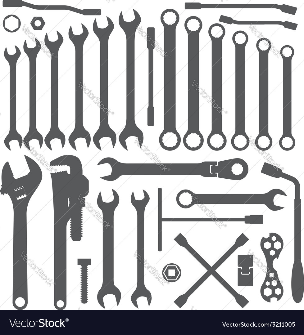 Various wrench silhouette set