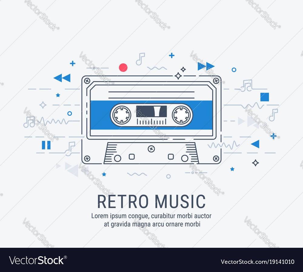Audio cassette modern line art style
