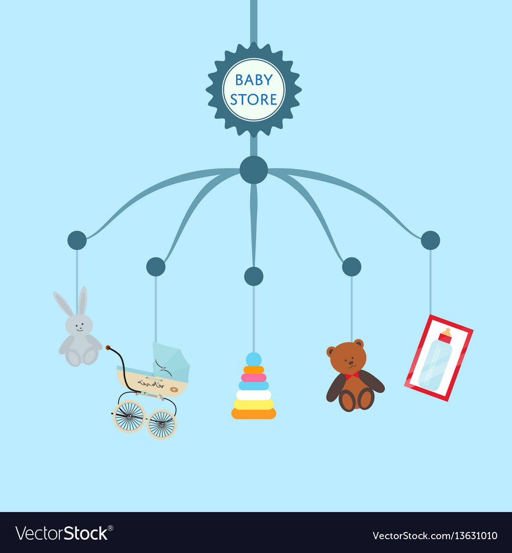 Baby Store Banner With Child Toys Royalty Free Vector Image