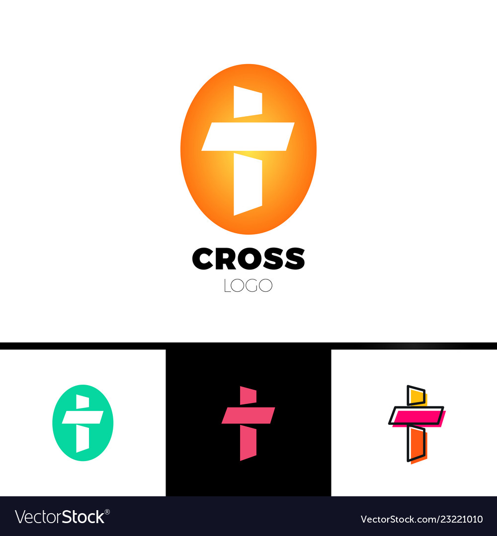 Christian cross logo in simple and clean style