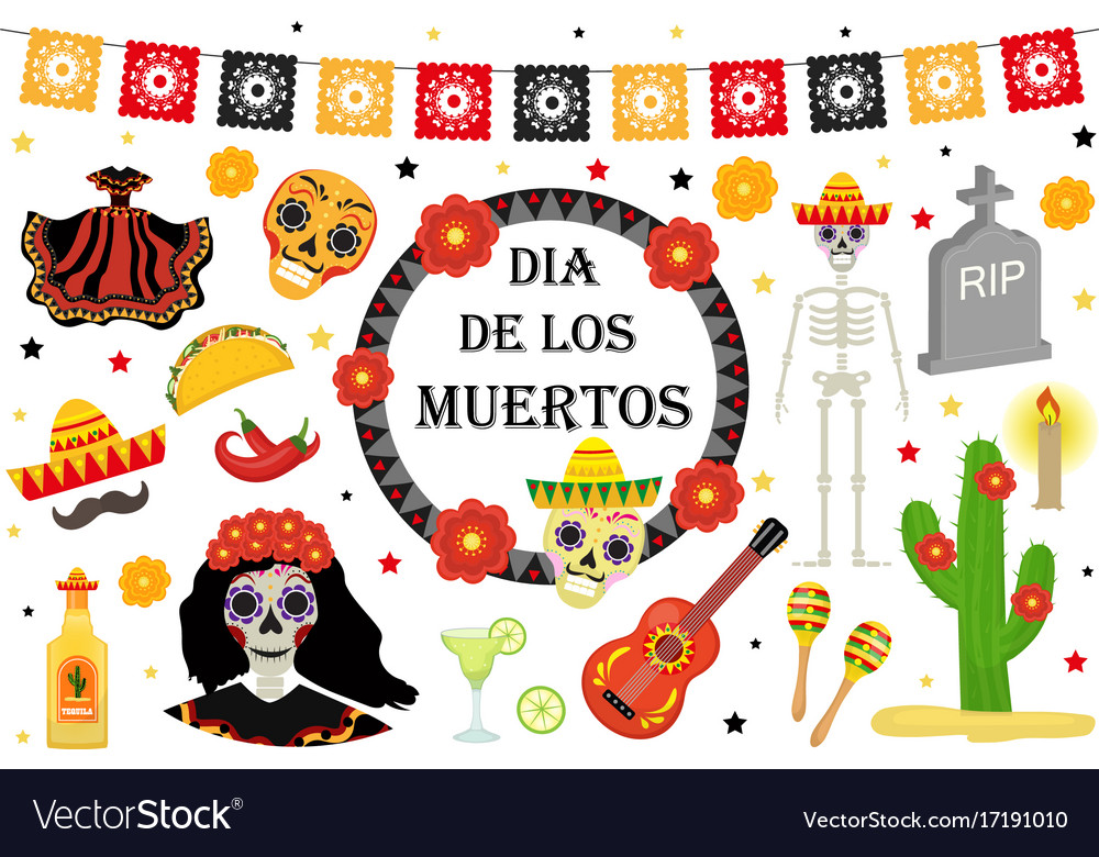 Day of the dead mexican holiday icons flat style