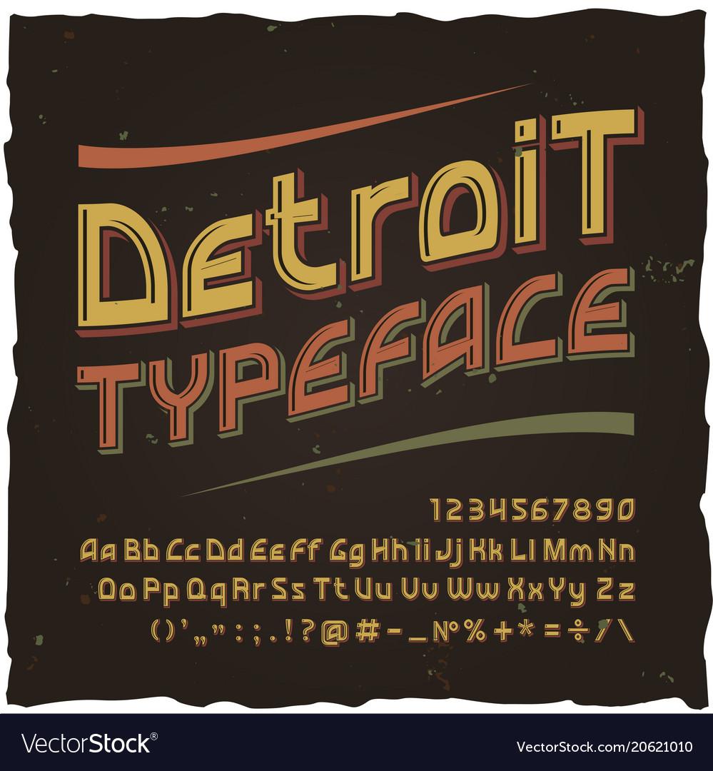 Detroit vintage typeface